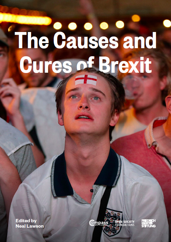 Image of report's cover page: young white man with England flag painted on forehead, looking disappointed