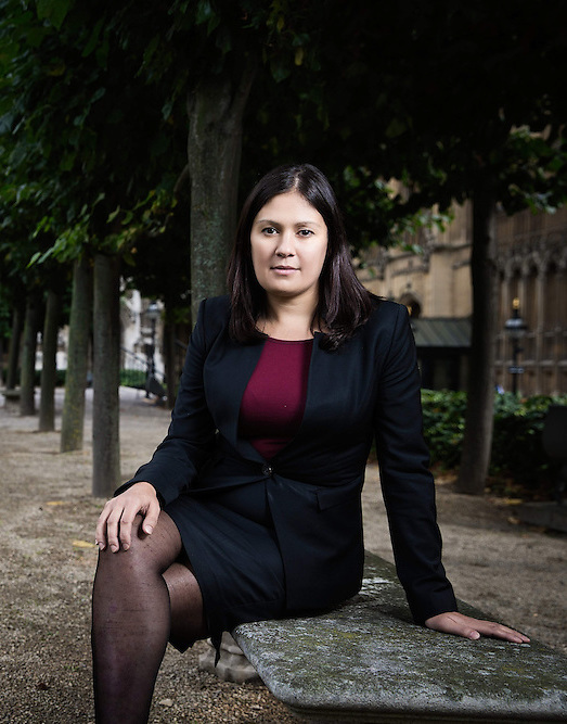 Lisa Nandy on a bench outside the House of Commons
