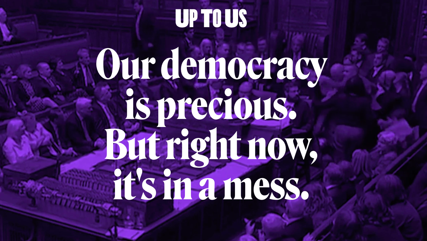 Campaign slogan on purple background
