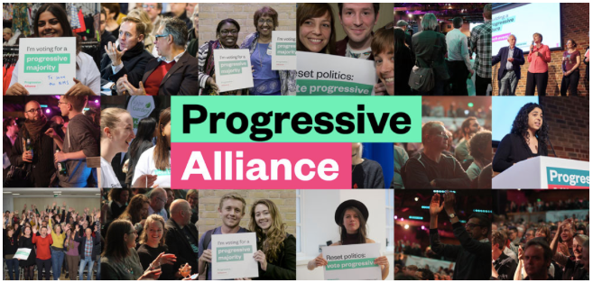 Collage of Progressive Alliance campaign images