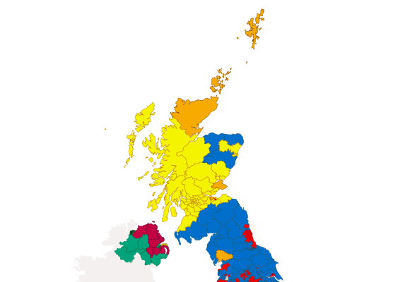 Election results map of the northern half of the UK